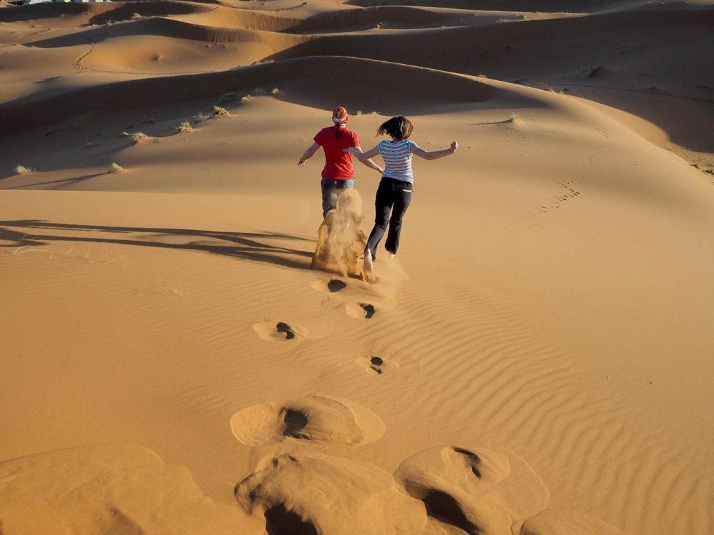 Runnning through the dunes in Merzouga