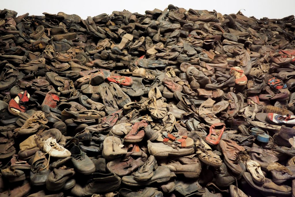 Shoes from the people that arrived in the camp