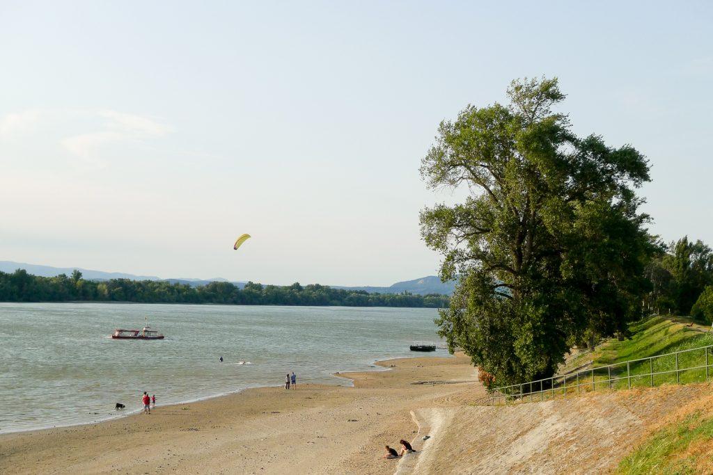 People having fun in the Danube